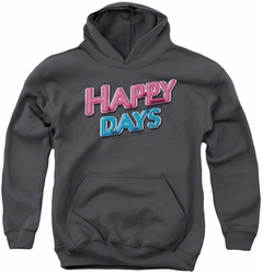 Happy Days youth teen hoodie Happy Days Logo charcoal