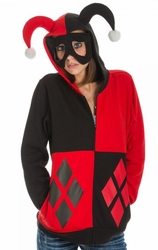 Harley Quinn hoodie Jester juniors multi-color with Eye Mask