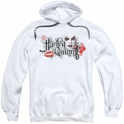 Harley Quinn pull-over hoodie Lips adult white