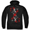 Harley Quinn pull-over hoodie Quinn Of Diamonds adult black