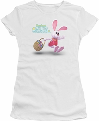 Here Comes Peter Cottontail juniors t-shirt Hop Around white