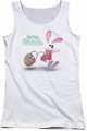 Here Comes Peter Cottontail juniors tank top Hop Around white
