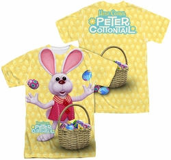 Here Comes Peter Cottontail mens full sublimation t-shirt Basket Of Eggs