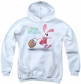 Here Comes Peter Cottontail youth teen hoodie Hop Around white
