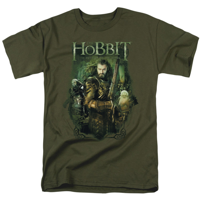 Hobbit t shirt thorin and company mens military green for Military t shirt companies