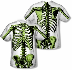 Horror mens full sublimation t-shirt 8 Bit Skeleton