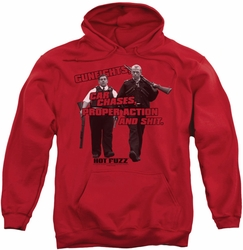 Hot Fuzz pull-over hoodie Day's Work adult red