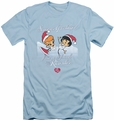I Love Lucy slim-fit t-shirt Animated Christmas mens light blue
