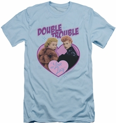 I Love Lucy slim-fit t-shirt Double Trouble mens light blue