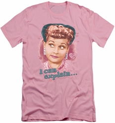 I Love Lucy slim-fit t-shirt I Can Explain mens pink
