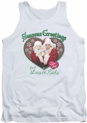 I Love Lucy tank top Seasons Greetings mens white