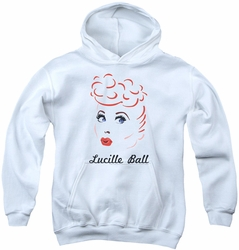 I Love Lucy youth teen hoodie Drawing white