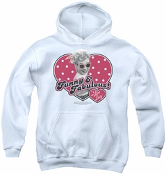 I Love Lucy youth teen hoodie Funny & Fabulous white