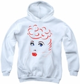 I Love Lucy youth teen hoodie Lines Face white