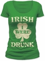 Impact Originals irish i were drunk women's scoop neck tee kelly green t-shirt pre-order