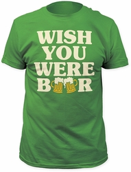 Impact Originals wish you were beer fitted jersey tee kelly green t-shirt pre-order
