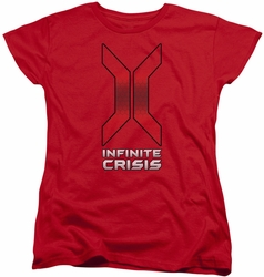 Infinite Crisis womens t-shirt Title red