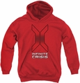 Infinite Crisis youth teen hoodie Title red