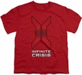 Infinite Crisis youth teen t-shirt Title red