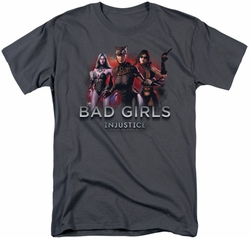 Injustice Gods Among Us t-shirt Bad Girls mens charcoal