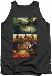 Injustice Gods Among Us tank top Panels mens charcoal