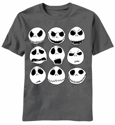 Jack Faces Nightmare Before Christmas mens t-shirt charcoal