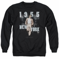 James Dean adult crewneck sweatshirt New York 1955 black