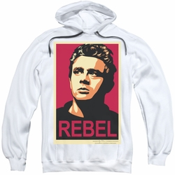 James Dean pull-over hoodie Rebel Campaign adult white