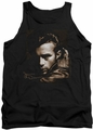 James Dean tank top Brown Leather mens black