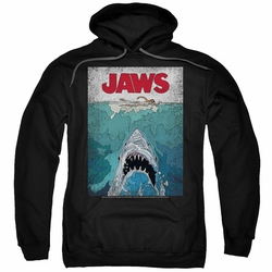 Jaws pull-over hoodie Lined Poster adult black