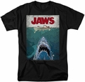 Jaws t-shirt Lined Poster mens black