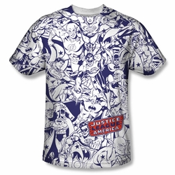 JLA Justice League of America front sublimation t-shirt Justice All Around short sleeve White