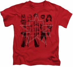 JLA kids t-shirt Five Stars red