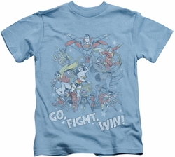 JLA kids t-shirt Go Fight Win carolina blue