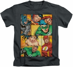 JLA kids t-shirt Hero Boxes charcoal