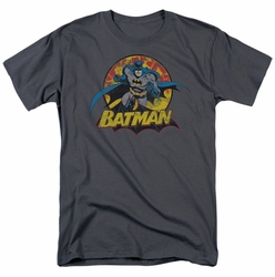 JLA t-shirt Batman Rough Distress mens charcoal