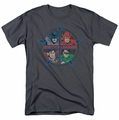 JLA t-shirt Four Heroes mens charcoal Sheldon Shirt