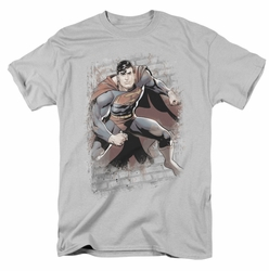 JLA t-shirt Superman Bricks mens silver