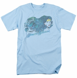 JLA t-shirt Wonder Woman Watercolor Hair mens light blue
