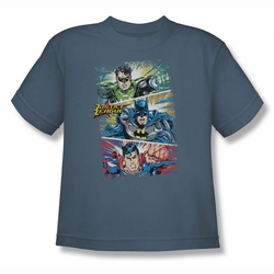 Justice League youth teen t-shirt Action Frames slate