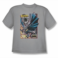 Justice League youth teen t-shirt Batman Panels silver