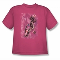 JLA youth teen t-shirt Catwoman #1 hot pink