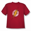 Justice League youth teen t-shirt Destroyed Flash Logo red