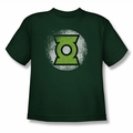 Justice League youth teen t-shirt Destroyed Green Lantern Logo hunter green