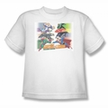 Justice League youth teen t-shirt Evildoers Beware white