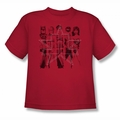 Justice League youth teen t-shirt Five Stars red