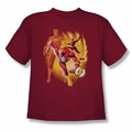 Justice League youth teen t-shirt Flash Collage cardinal