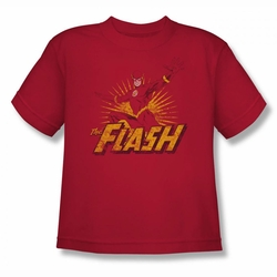 Justice League youth teen t-shirt Flash Rough Distress red