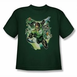 Justice League youth teen t-shirt Green Lantern Flying Corps hunter green
