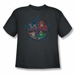 Justice League youth teen t-shirt Four Heroes charcoal